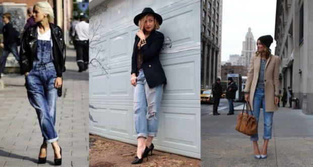 с чем носить джинсы: под туфли на каблуке лодочки