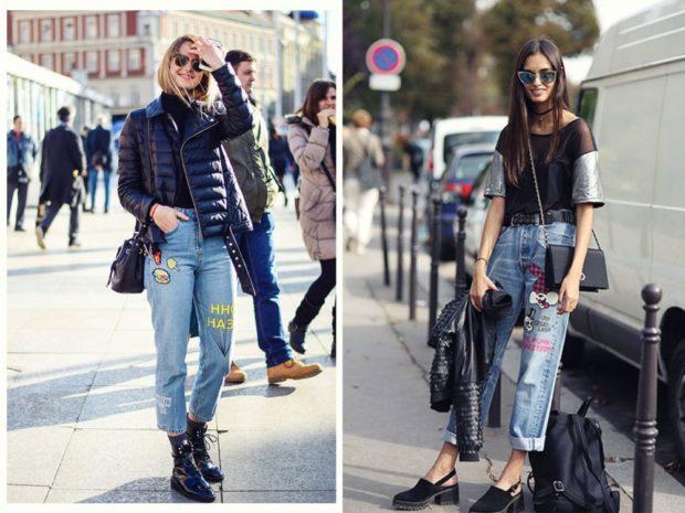с чем носить джинсы: под грубые ботинки под туфли