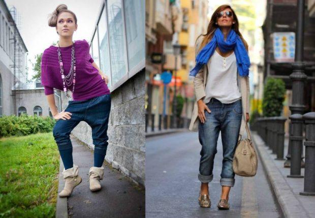 с чем носить джинсы: с мотней под свитер синие