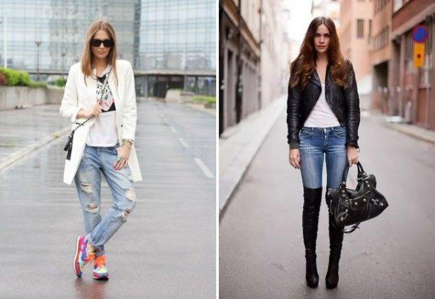 с чем носить джинсы: под кроссовки сапоги высокие