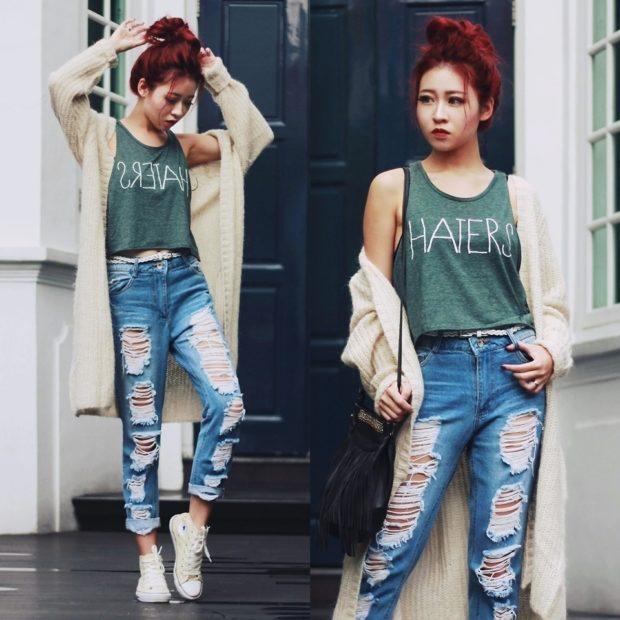 с чем носить джинсы: под кеды белые