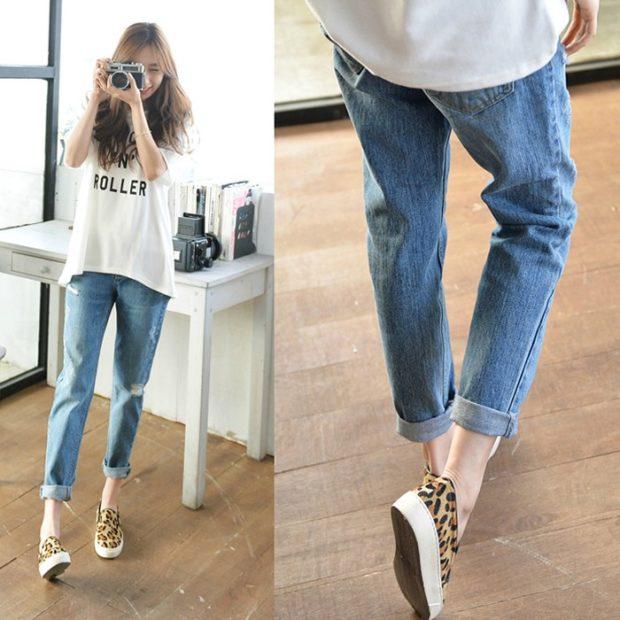 с чем носить джинсы: под слипоны в леопардовый принт