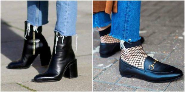 с чем носить джинсы: под ботинки черные под туфли