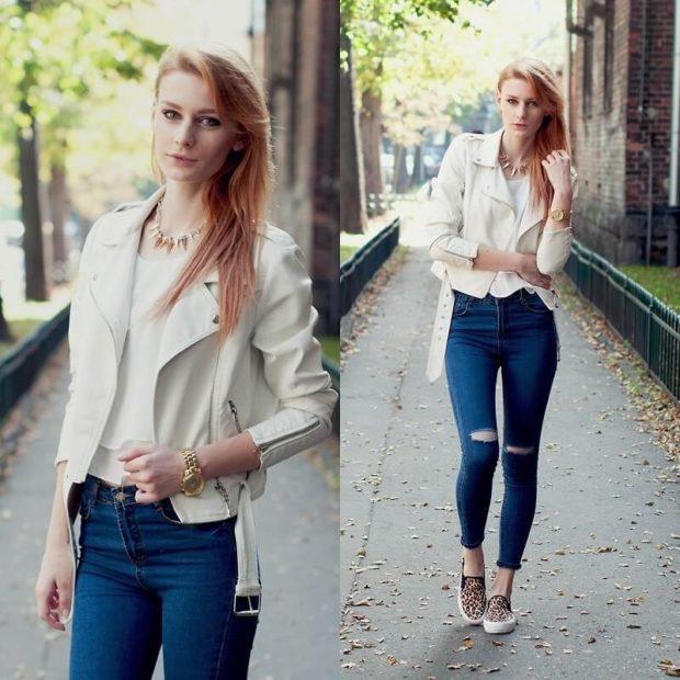 с чем носить джинсы: под мокасины леопардовые