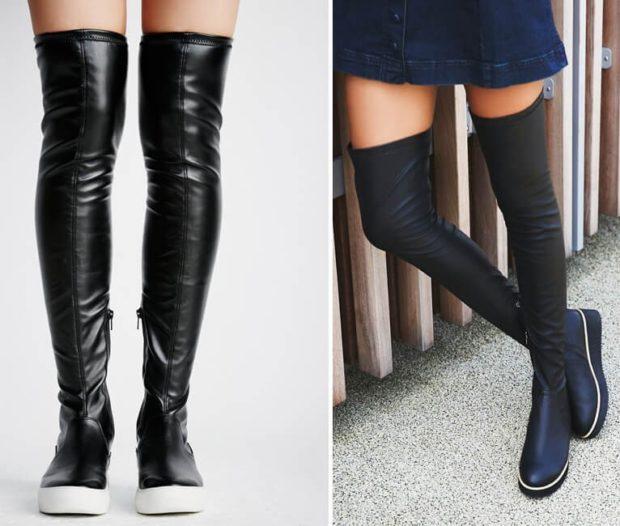 высокие сапоги без каблука под юбку