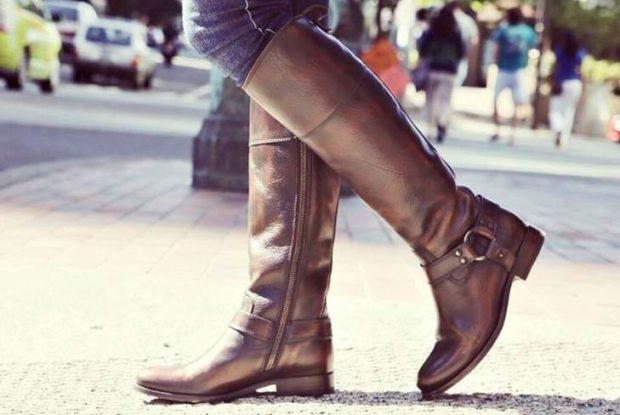 сапоги без каблука коричневые под джинсы