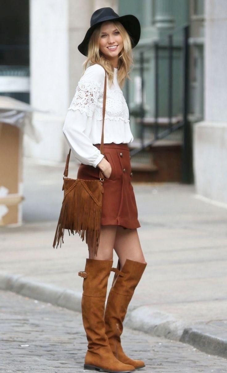 сапоги коричневые без каблука под юбку кожаную