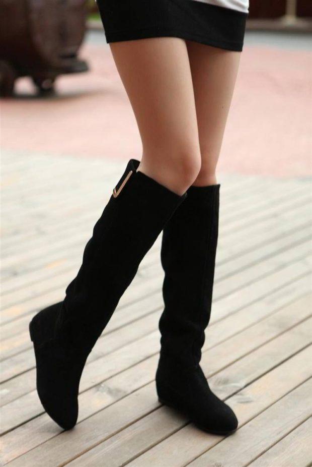 сапоги без каблука замша черные под юбку