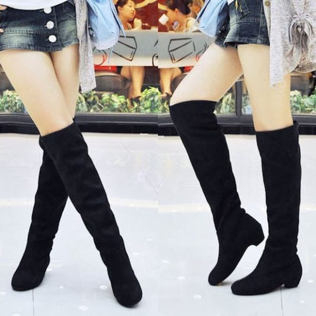 сапоги без каблука замша черные под юбку короткую