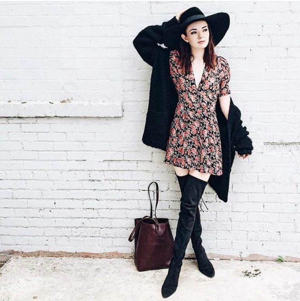 ботфорты безкаблука черные под платье и пальто