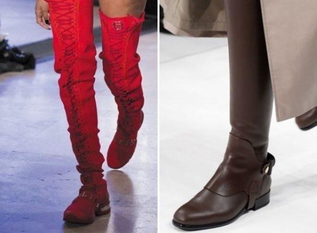 ботфорты безкаблука красные коричневые под платья