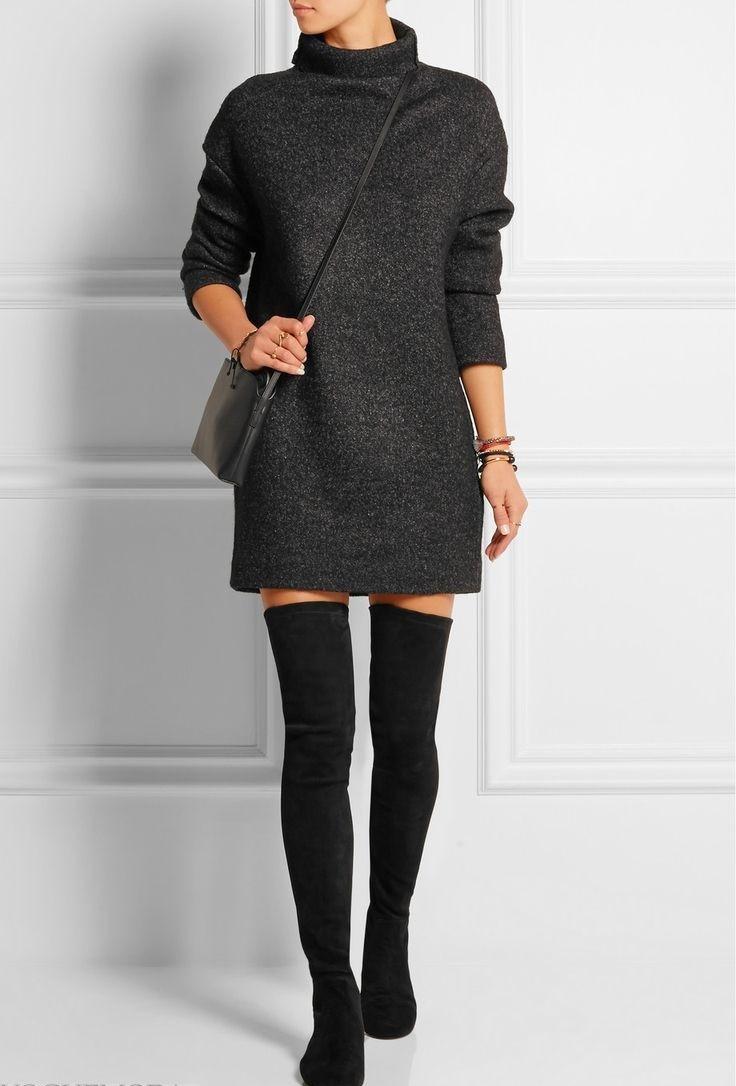 сапоги-чулки без каблука черные под платье короткое
