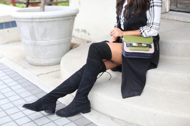 сапоги-чулки без каблука под юбку и жилетку длинную
