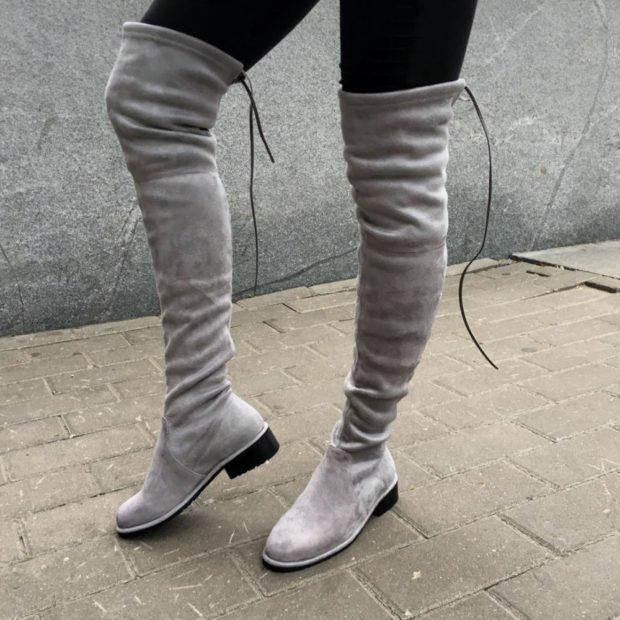 сапоги серые без каблука под лосины