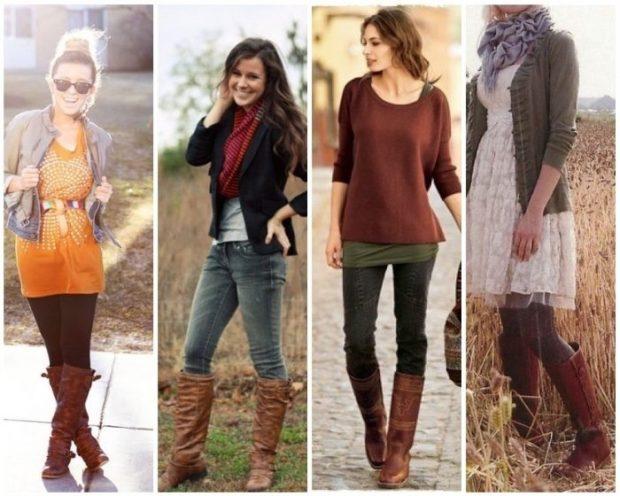 сапоги коричневые без каблука под лосины под джинсы под джинсы и кофту под платье