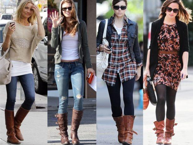 сапоги коричневые средняя длина под джинсы лосины платья