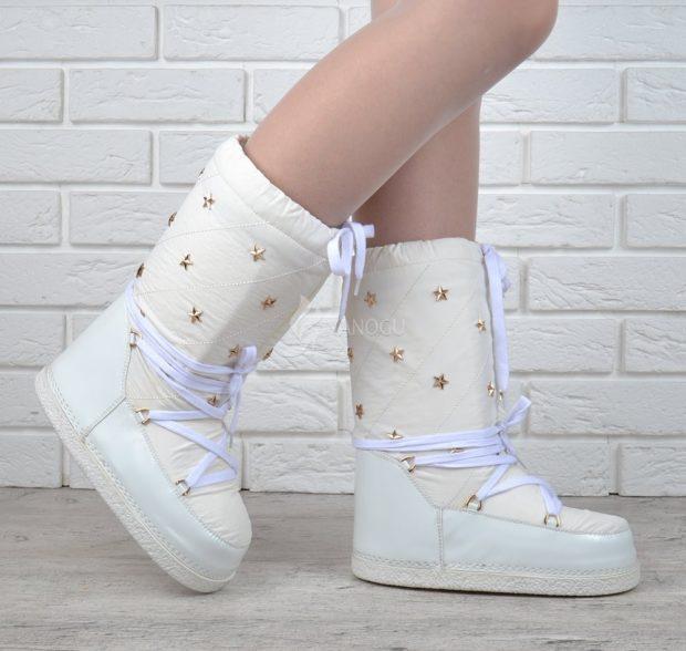 сапоги луноходы без каблука белые под колготки юбки и платья