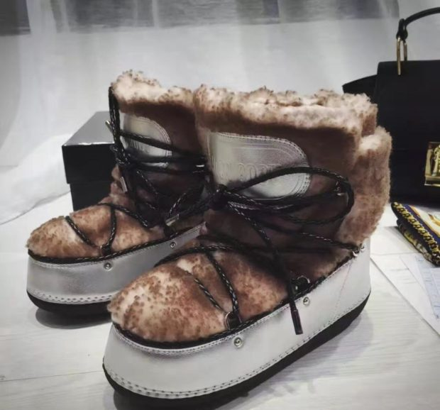 сапоги луноходы без каблука коричневые со шнуровкой