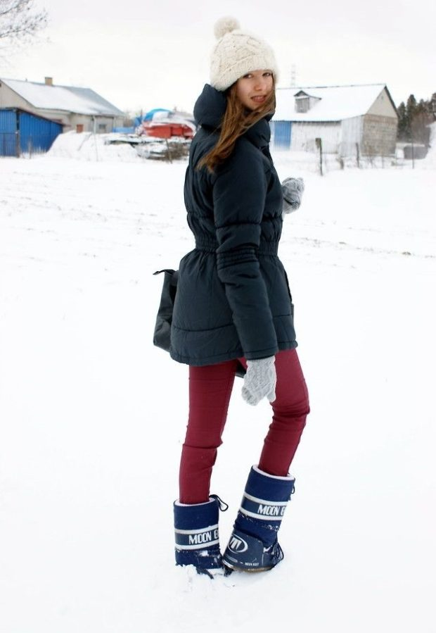 сапоги луноходы без каблука синие под лосины красные куртку темную