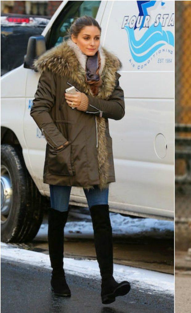 черные высокие сапоги под куртку зимнюю с мехом