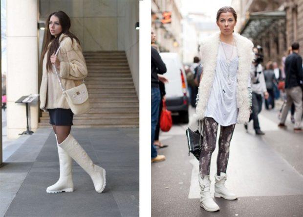 Сапоги без каблука белые под юбку пол лосины и пальто