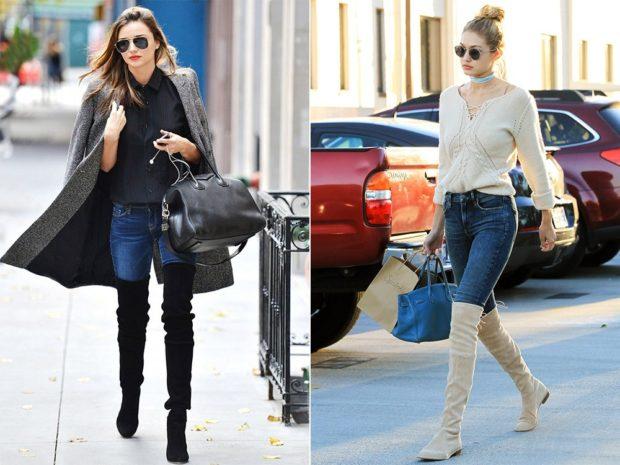 Сапоги без каблука черные под джинсы пальто под джинсы и свитер