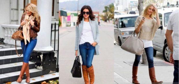 Сапоги без каблука коричневые под джинсы кофты разной длинны