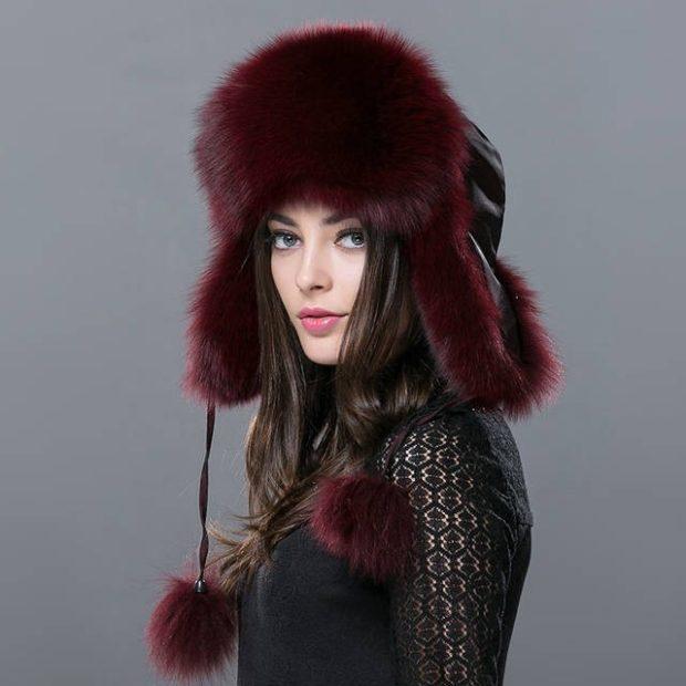 шапка ушанка бордовая с завязками