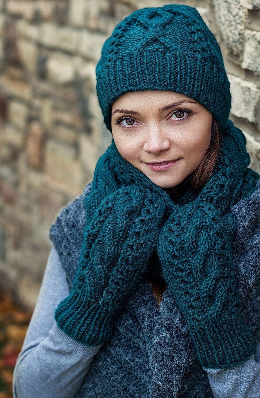 шапка шарф рукавички зеленые крупная вязка