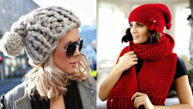 крупная вязка шапка серая с бубоном красная с шарфом