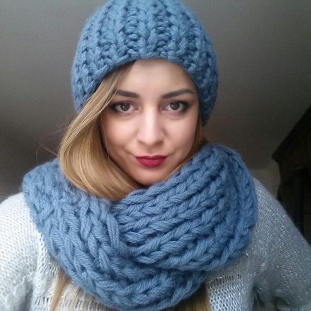 крупная вязка шарф шапка синяя