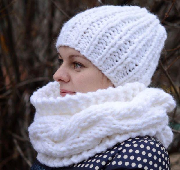 крупная вязка шапка и шарф белые