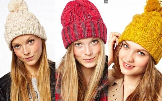 крупная вязка шапки белая красная желтая