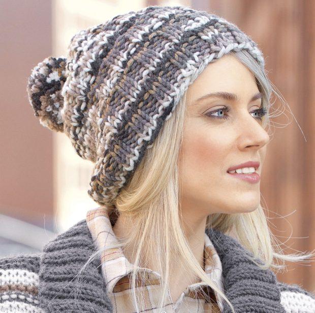 шапка с помпоном крупная вязка цветная