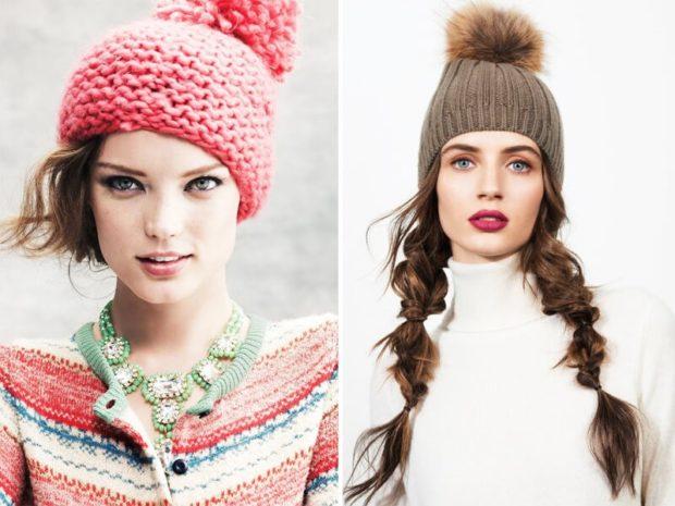 шапка с помпоном красная осень зима 2019 2020