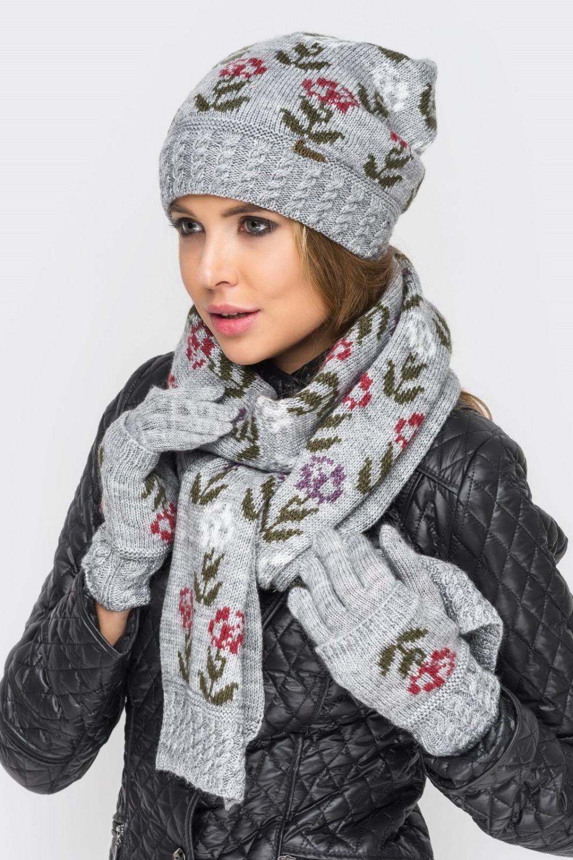 шарф шапка серые с цветами