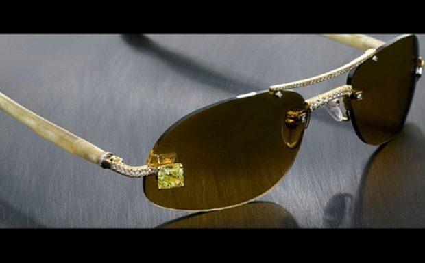 овальные коричневые очки золотая оправа