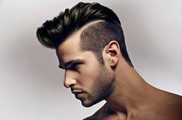 мужская стрижка: ирокез пробор выбритая часть головы