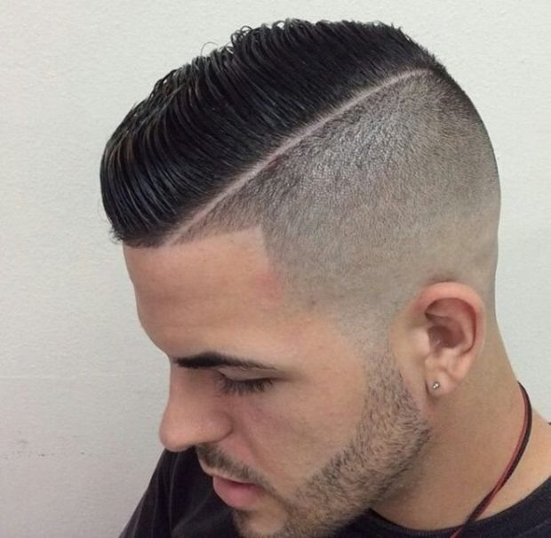 мужская стрижка 2019: на пробор одна сторона с волосами другая под 3 мм