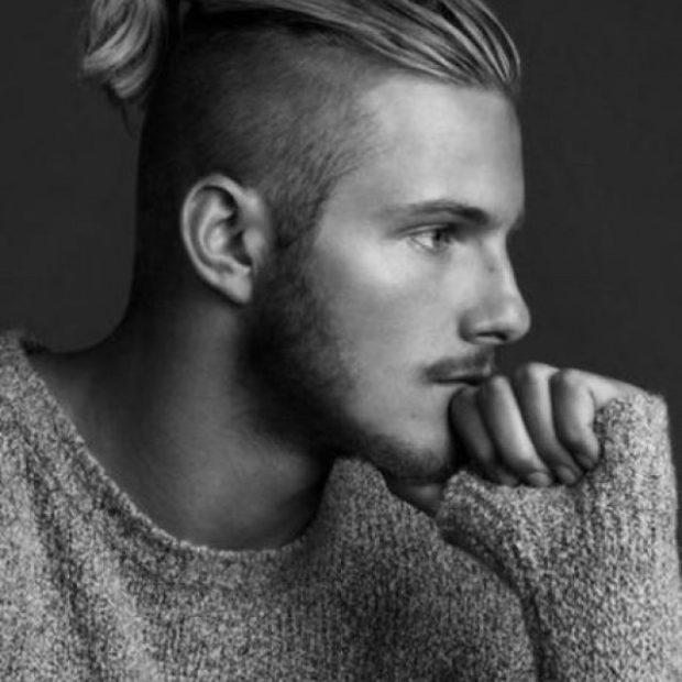 мужская стрижка волос: пучок