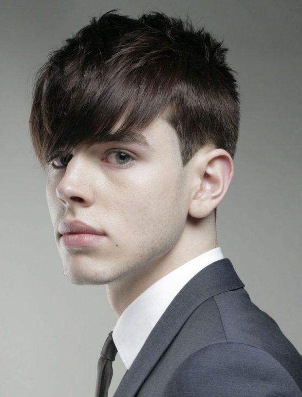 мужская стрижка волос: асимметрия с удлиненной косой челкой