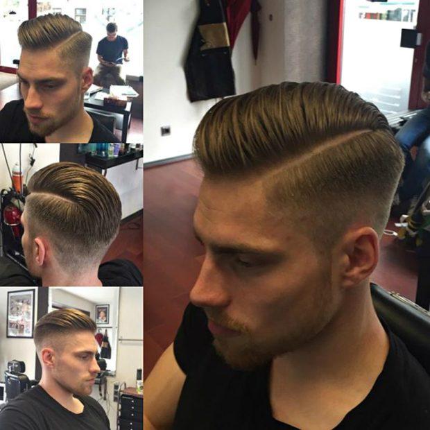 мужская стрижка 2019: на пробор волосы по другую сторону на 3 мм