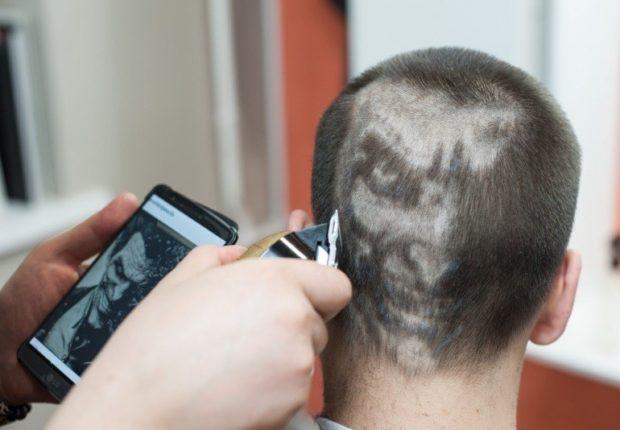 модные мужские стрижки: выбривание лица на голове машинкой