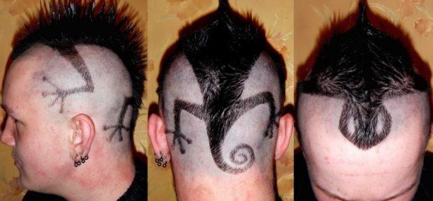 модные мужские стрижки: выбритая ящерица на голове