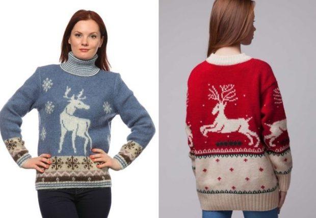 синий красный свитер с белым оленем и снежинками