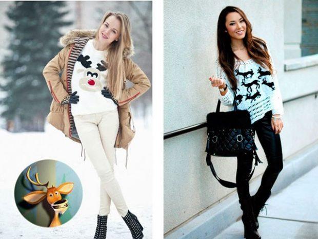 белый свитер серый олень синий свитер черные олени