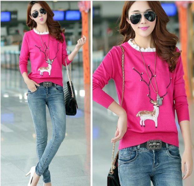 розовый свитер олень с большими рогами и бусинками