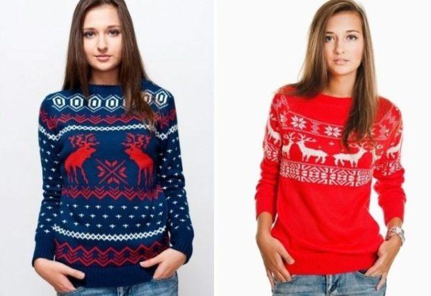 синий свитер с красным оленем красный свитер с белым