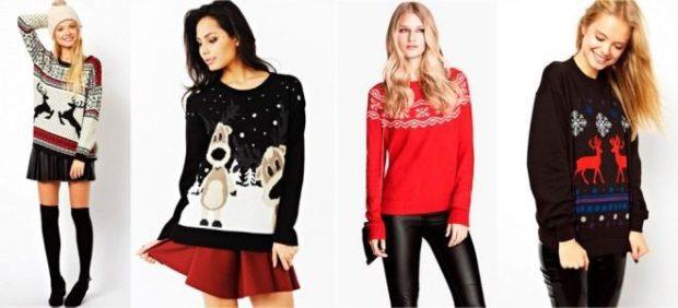 свитер с оленями черный с мультяшным оленем красный с белыми оленями черный с красными оленями