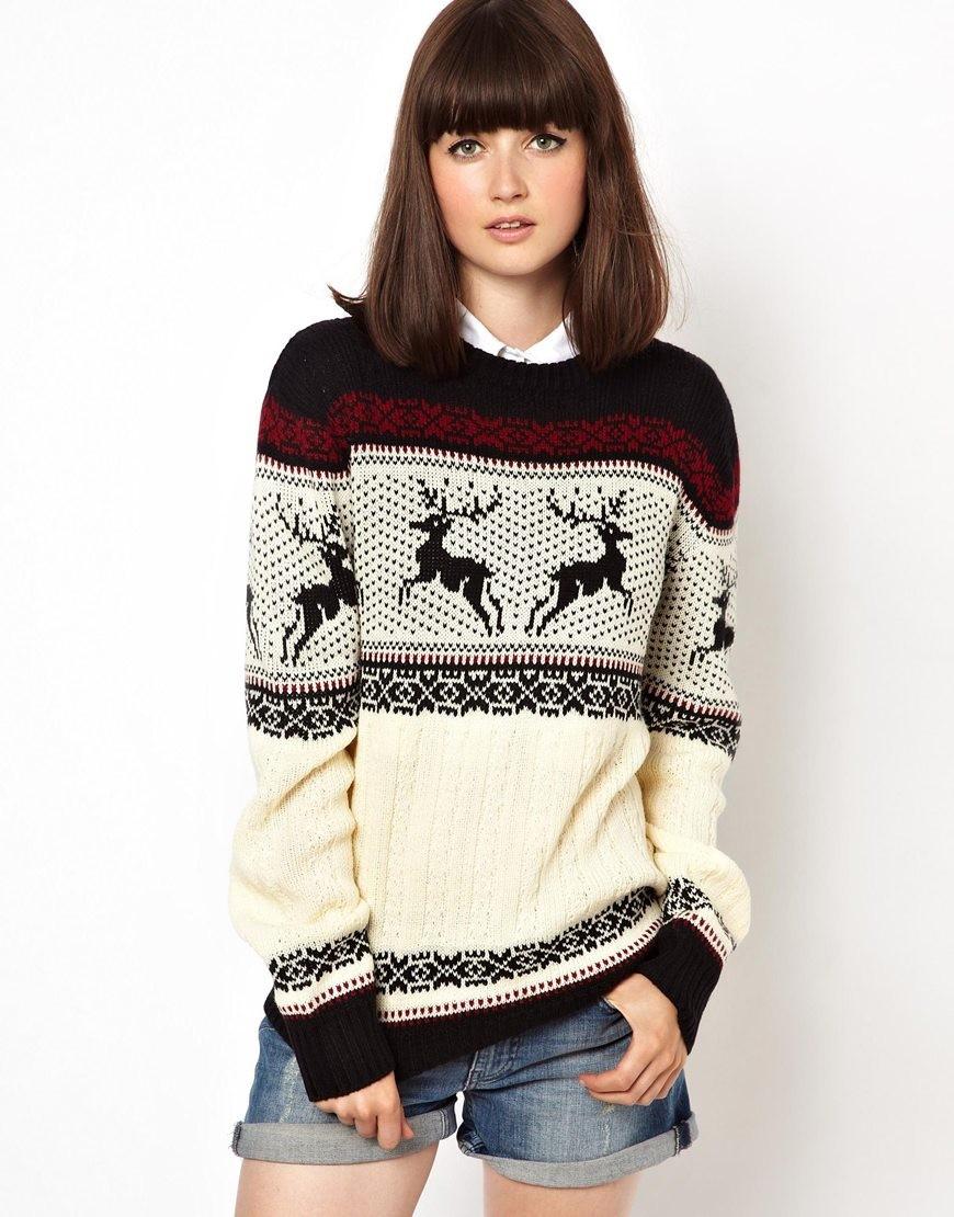 свитер с оленями черный с белым серый с бордовым
